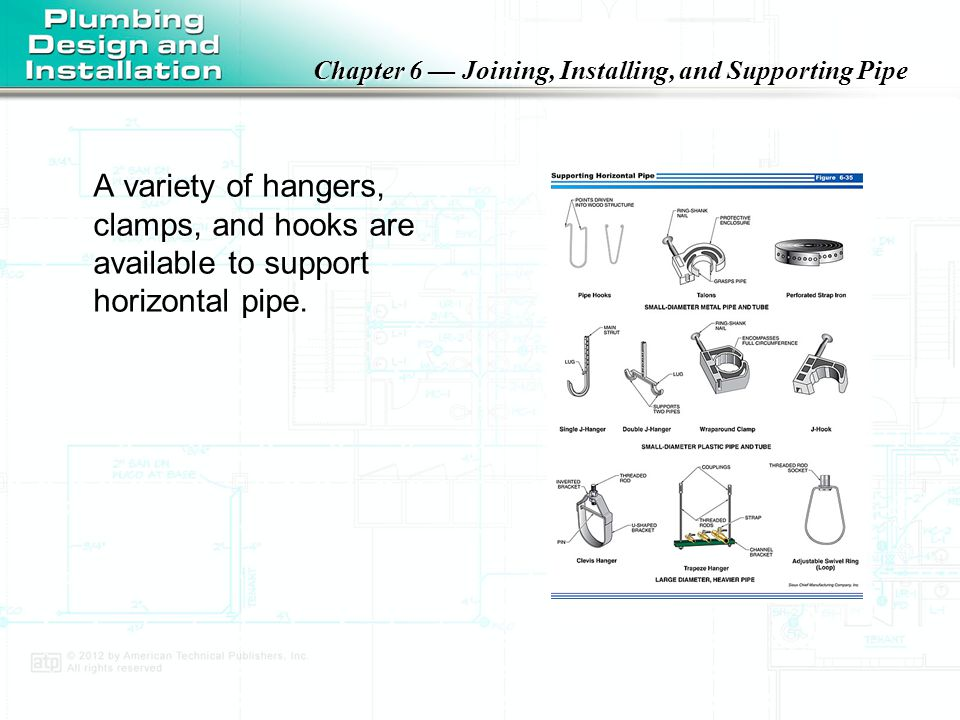 A variety of hangers, clamps, and hooks are available to support horizontal pipe.