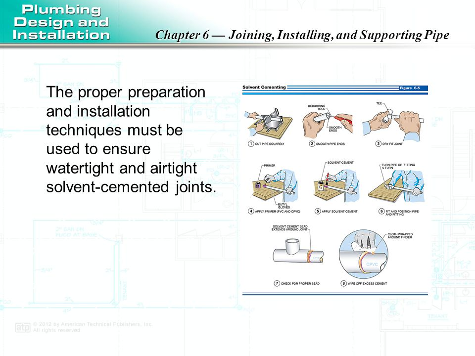 The proper preparation and installation techniques must be used to ensure watertight and airtight solvent-cemented joints.
