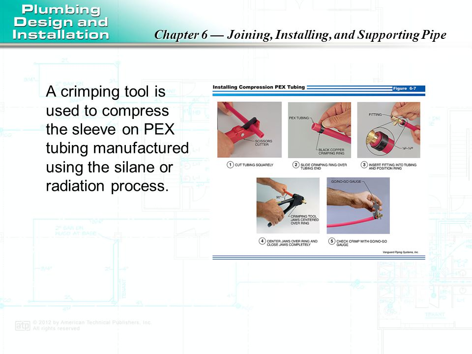 A crimping tool is used to compress the sleeve on PEX tubing manufactured using the silane or radiation process.