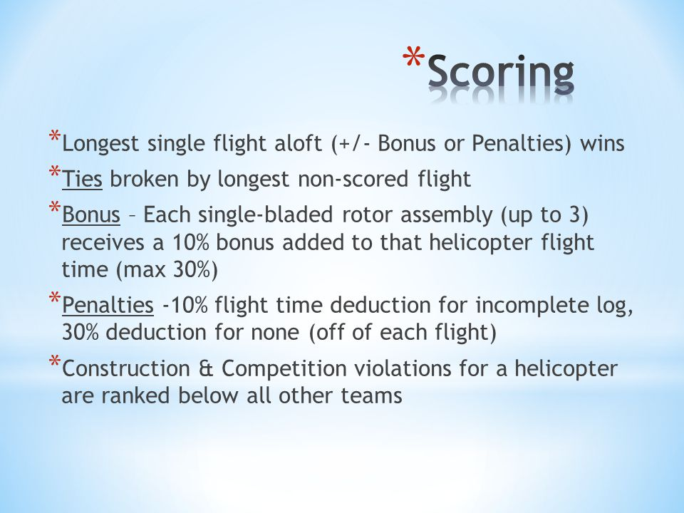 Scoring Longest single flight aloft (+/- Bonus or Penalties) wins