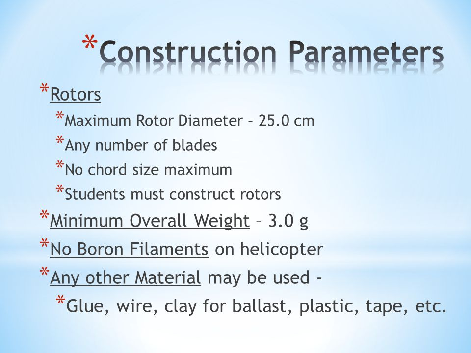 Construction Parameters