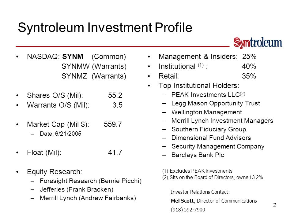 Syntroleum History Meeting the Requirements for GTL Commercialization