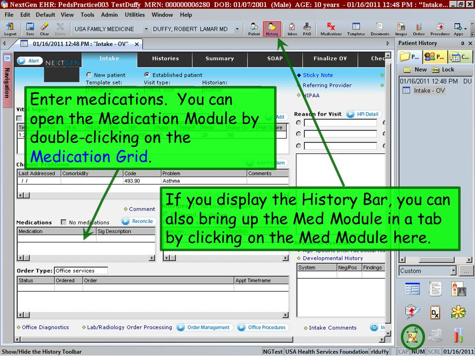 Enter medications. You can open the Medication Module by double-clicking on the Medication Grid.