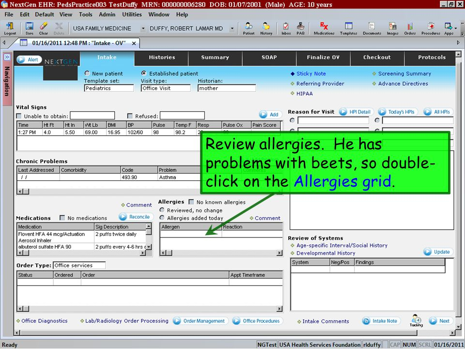 Review allergies. He has problems with beets, so double-click on the Allergies grid.
