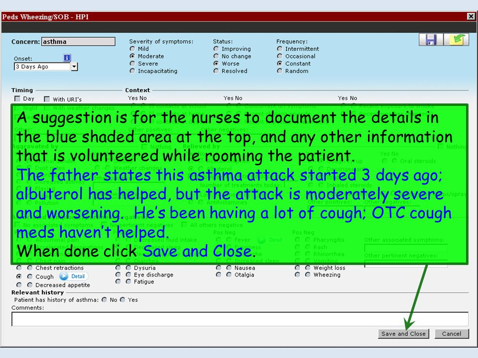 A suggestion is for the nurses to document the details in the blue shaded area at the top, and any other information that is volunteered while rooming the patient.