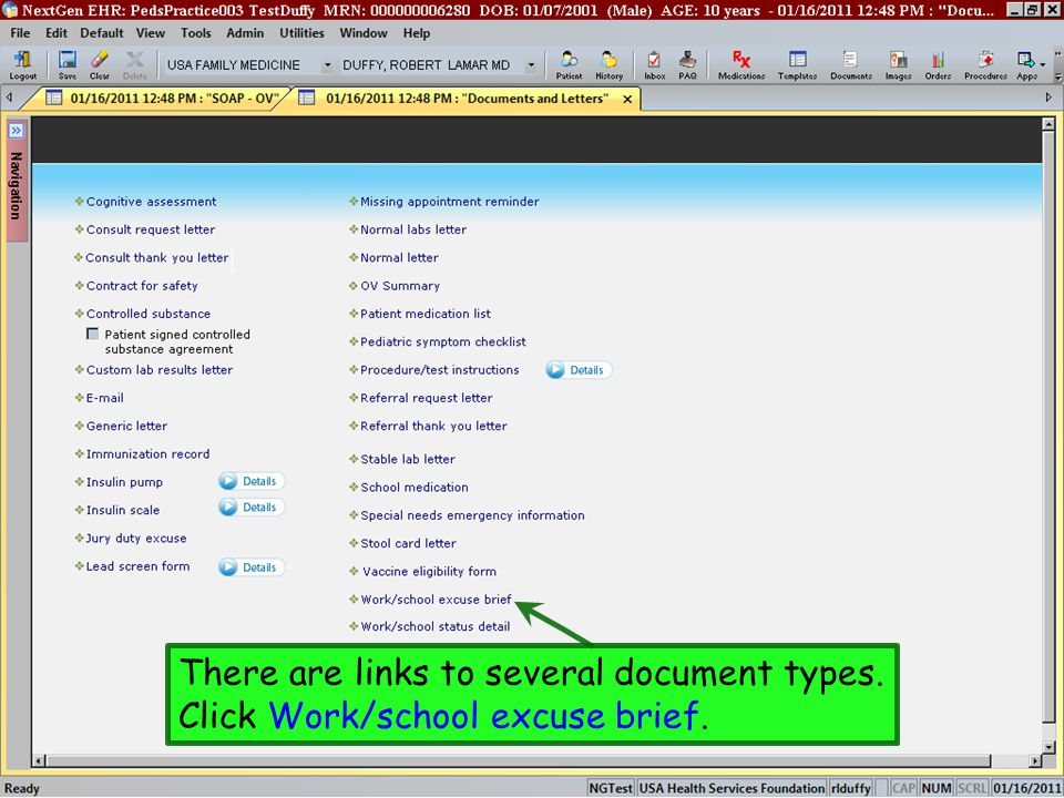 There are links to several document types.