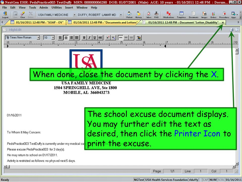 When done, close the document by clicking the X.