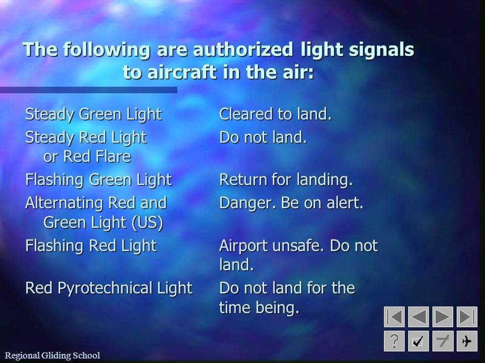 The following are authorized light signals to aircraft in the air: