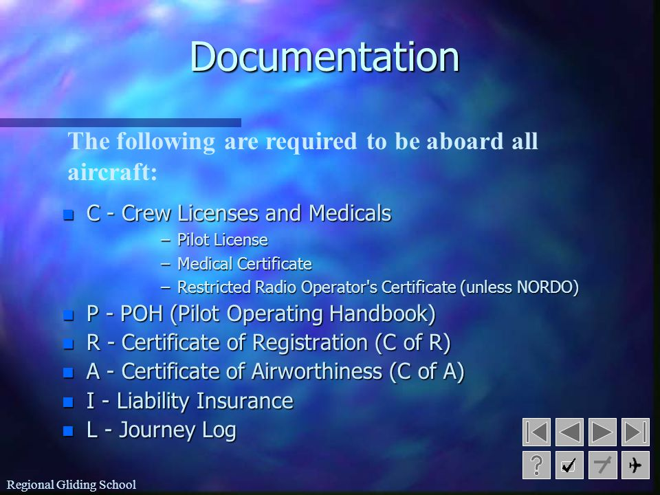 Documentation The following are required to be aboard all aircraft: