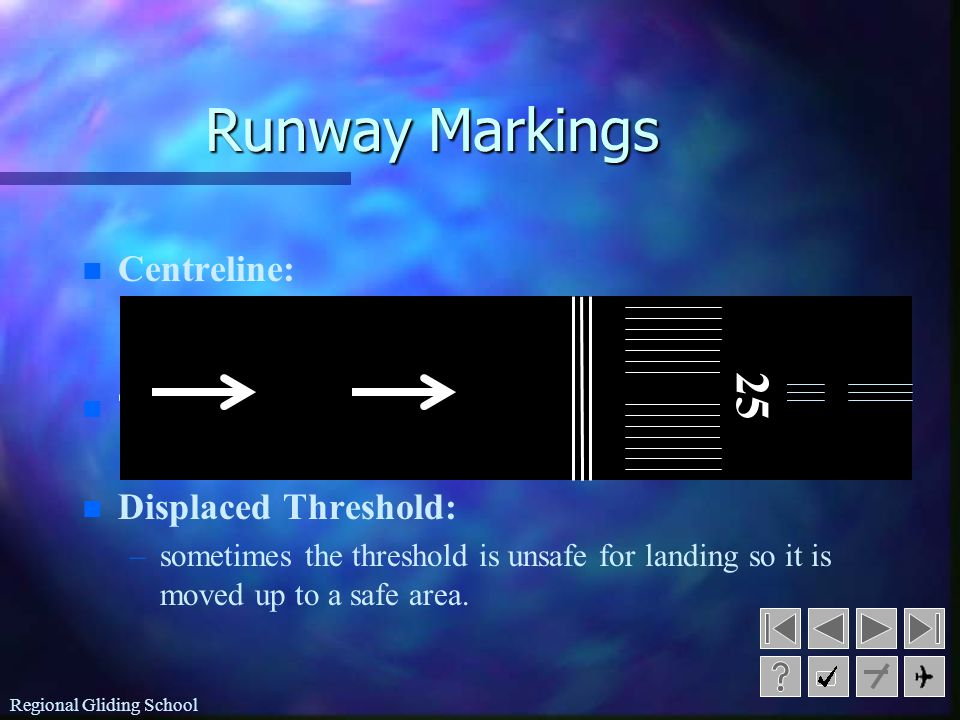 Runway Markings 25 Centreline: Threshold: Displaced Threshold: