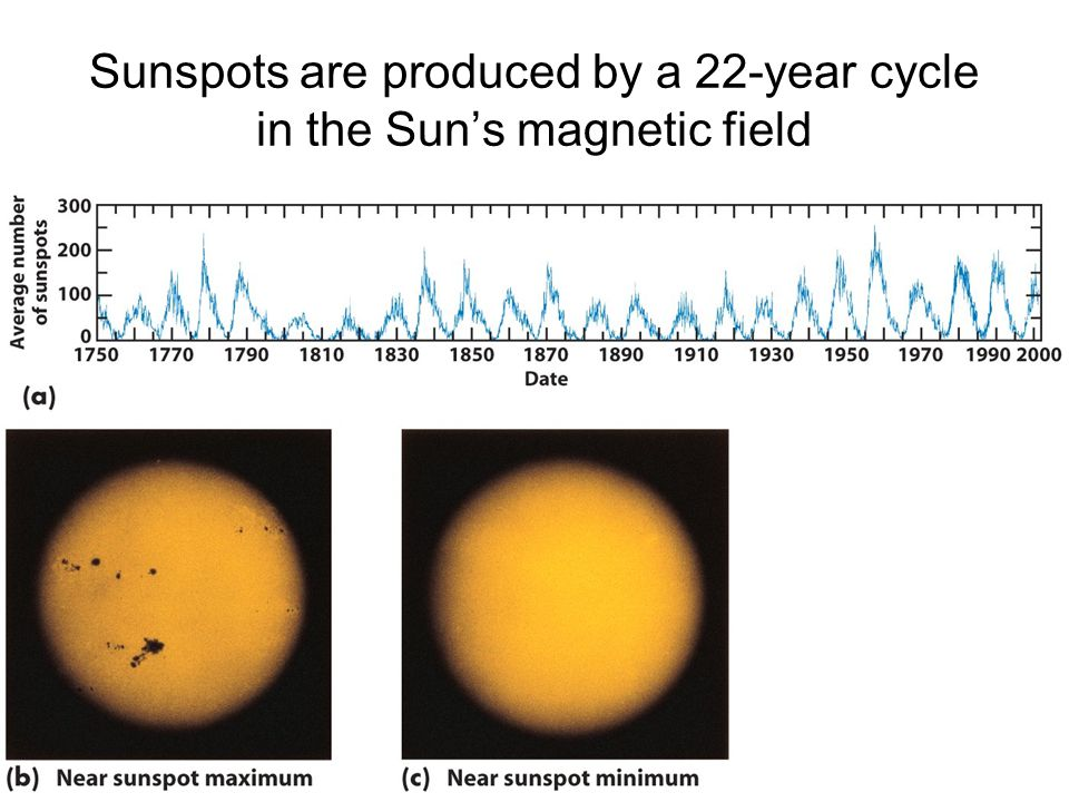 Sunspots are produced by a 22-year cycle in the Sun's magnetic field