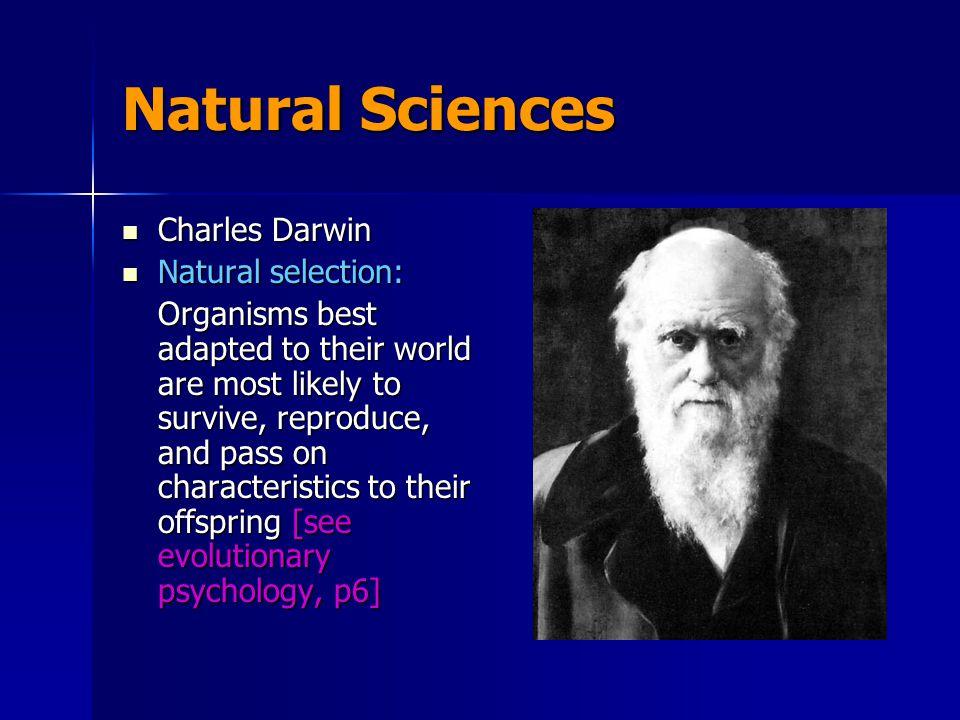 Natural Sciences Charles Darwin Natural selection: