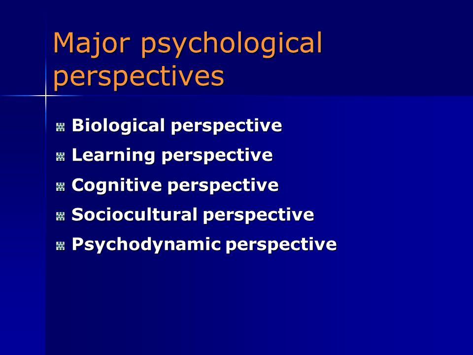 Major psychological perspectives