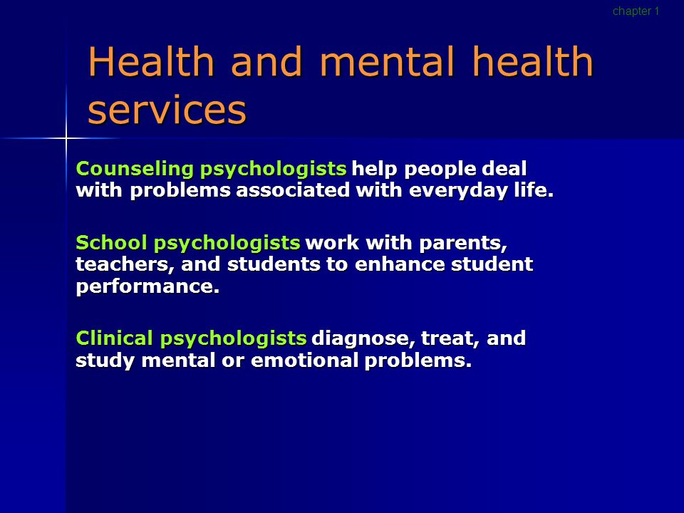 Health and mental health services