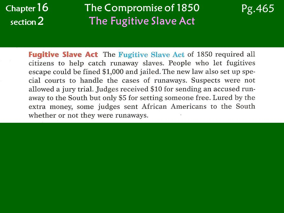 Pg.465 The Fugitive Slave Act The Compromise of 1850 Chapter 16