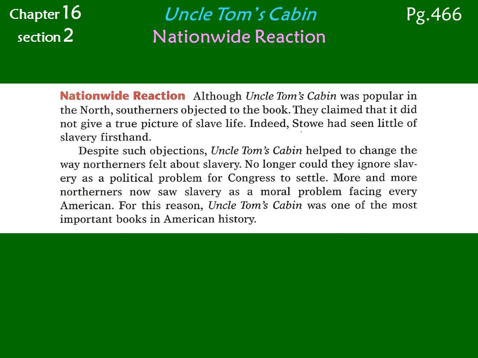 Uncle Tom's Cabin Nationwide Reaction