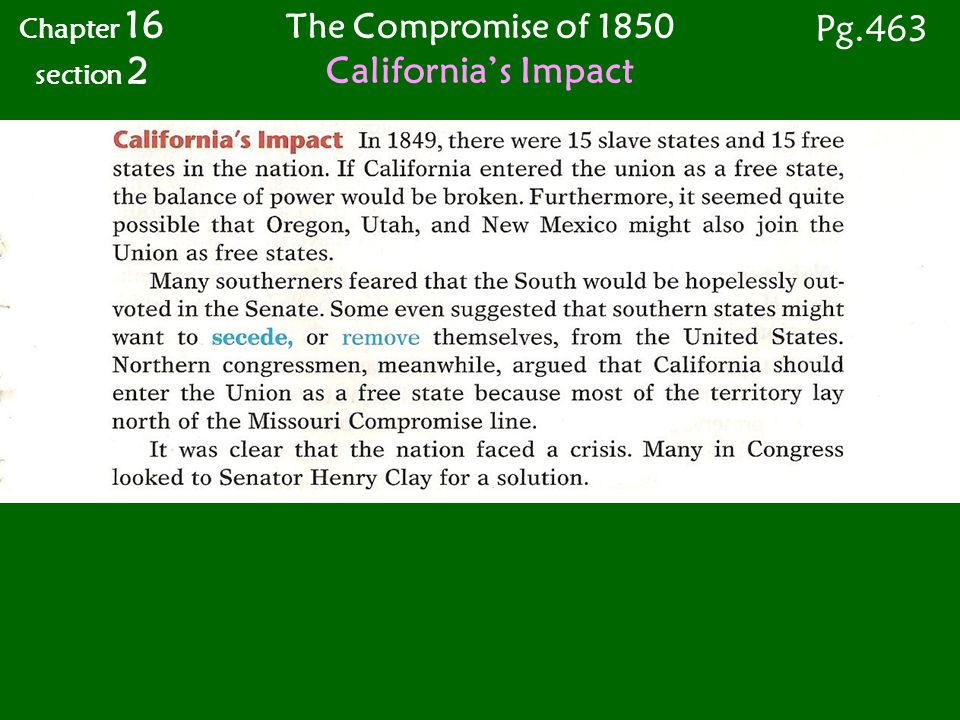 The Compromise of 1850 California's Impact Chapter 16 section 2 Pg.463