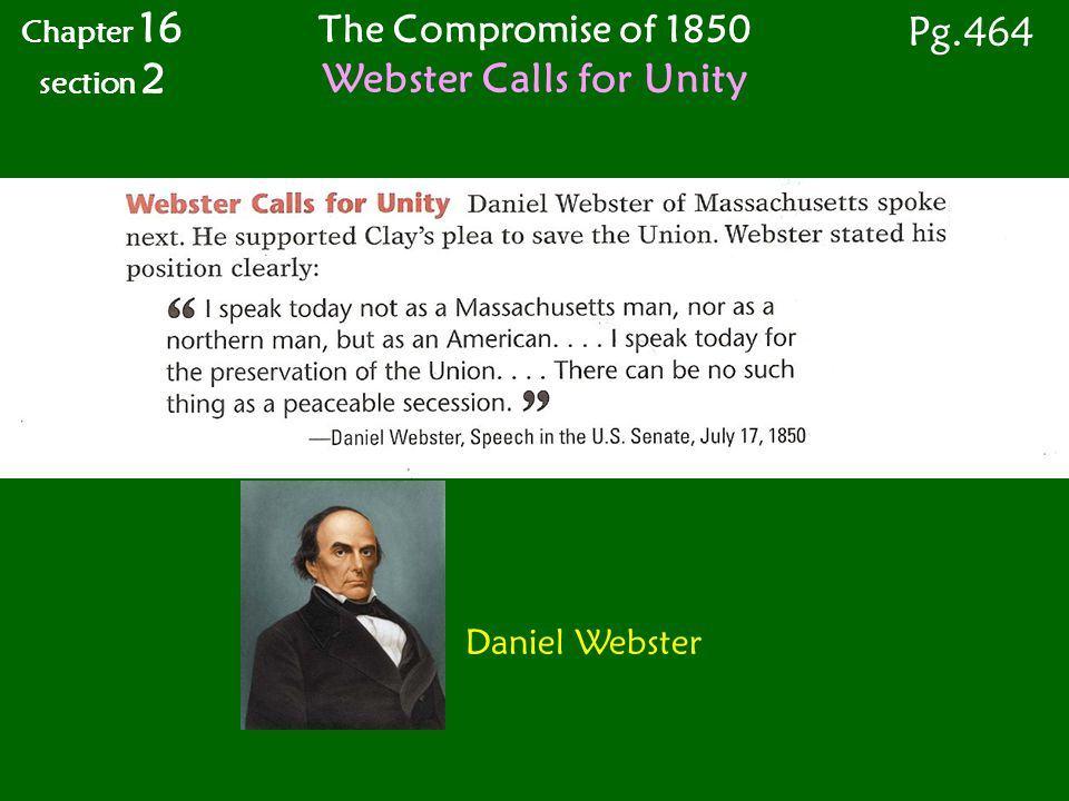 Webster Calls for Unity