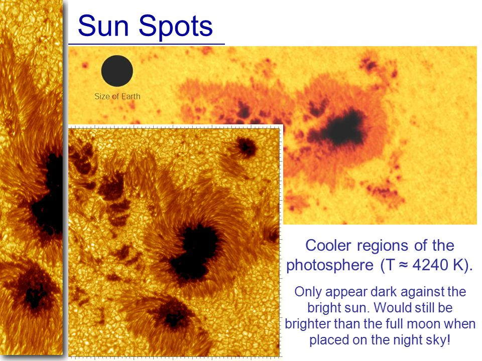 Cooler regions of the photosphere (T ≈ 4240 K).