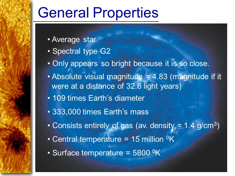 General Properties Average star Spectral type G2