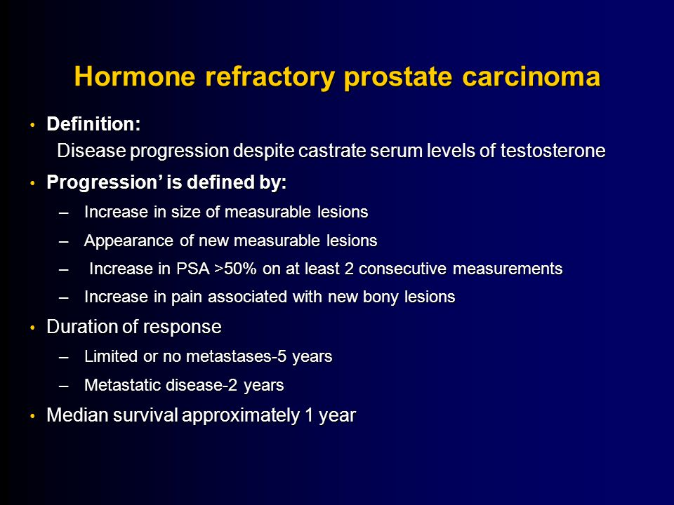 Hormone refractory prostate carcinoma