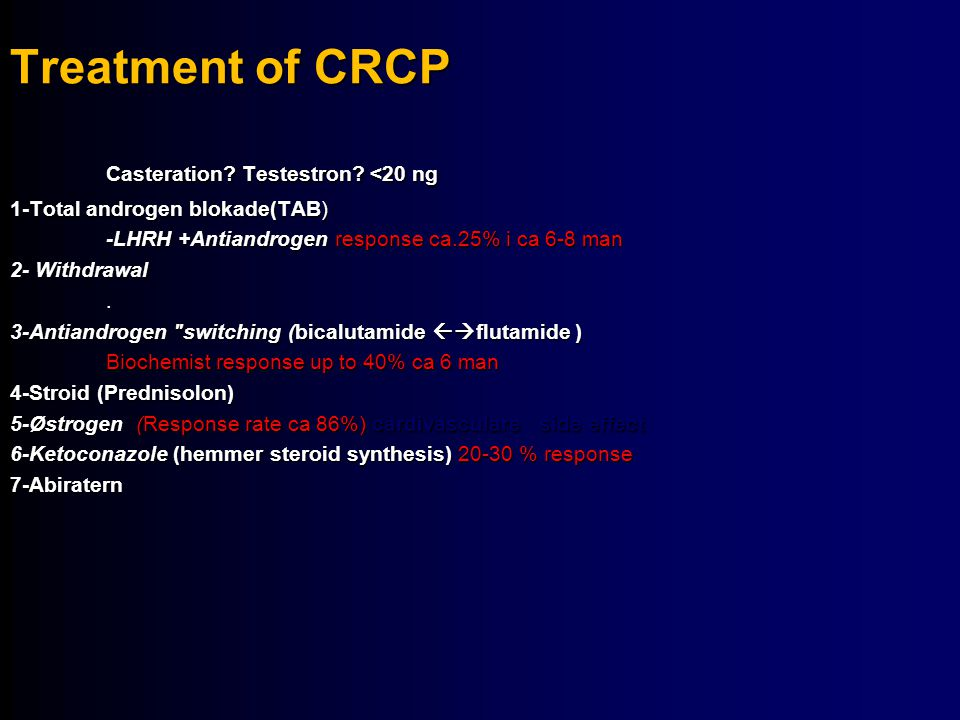 Treatment of CRCP Casteration Testestron <20 ng