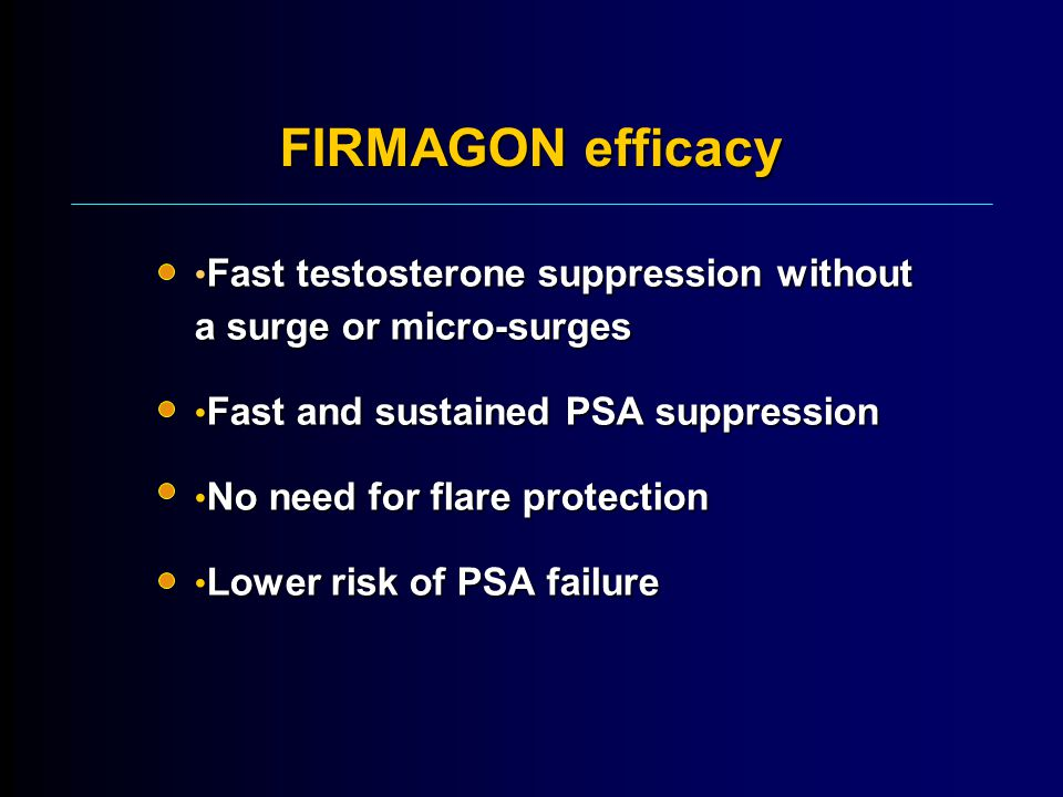 FIRMAGON efficacy Fast testosterone suppression without a surge or micro-surges. Fast and sustained PSA suppression.