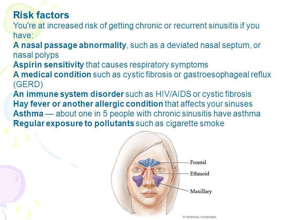 Risk factors You re at increased risk of getting chronic or recurrent sinusitis if you have: