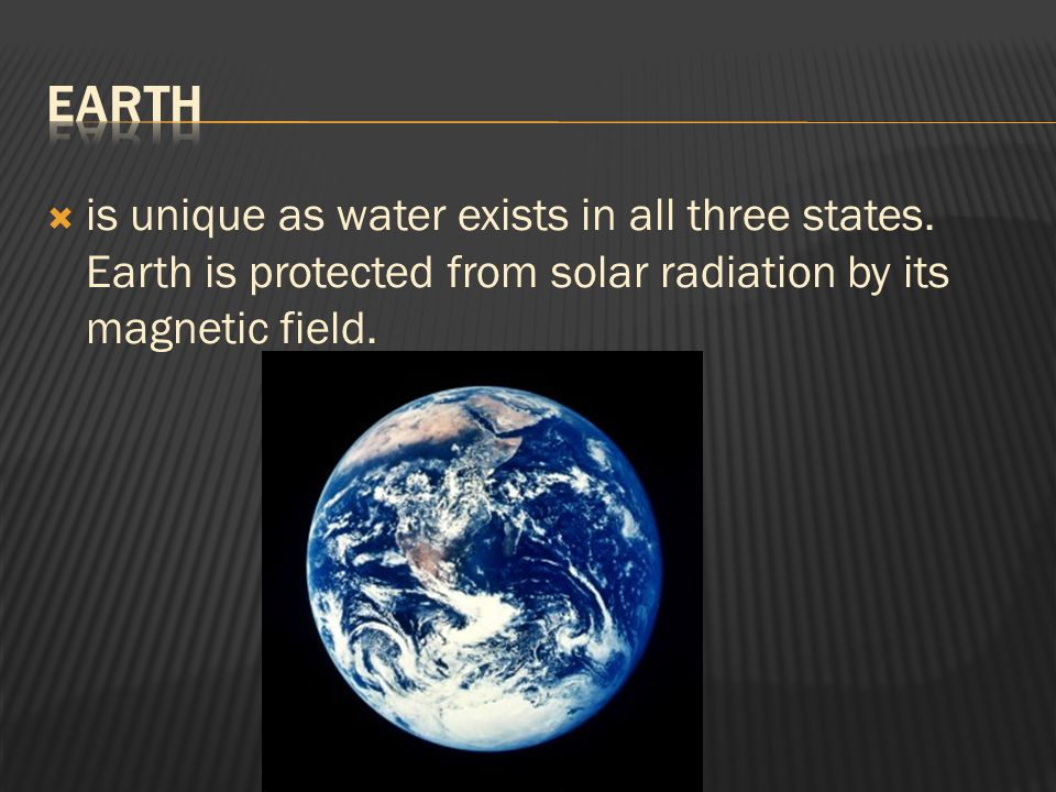 Earth is unique as water exists in all three states.