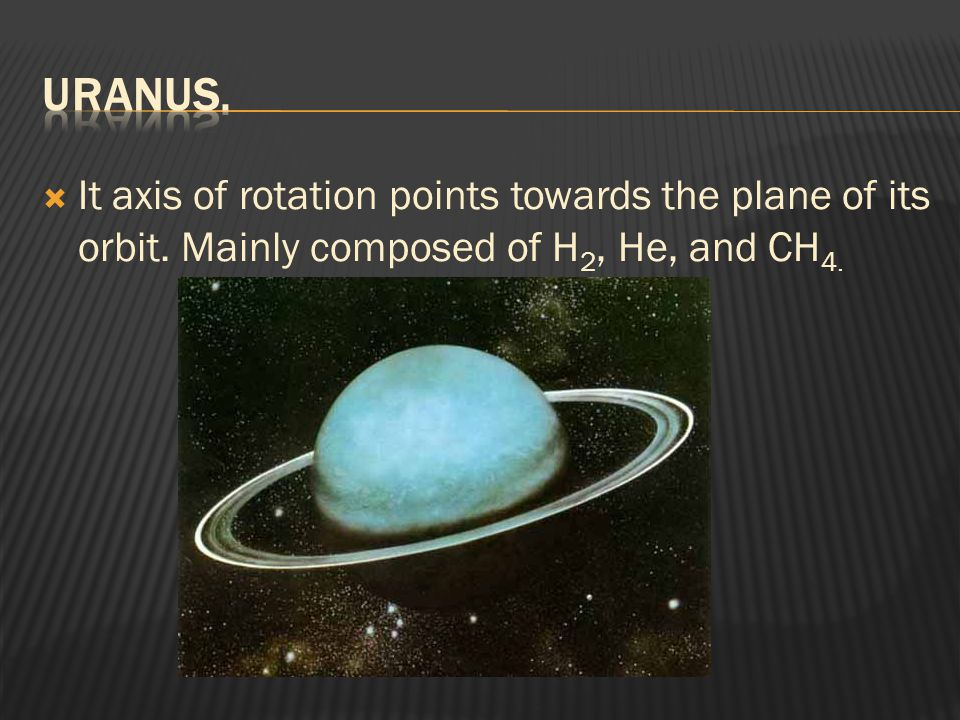 Uranus. It axis of rotation points towards the plane of its orbit.