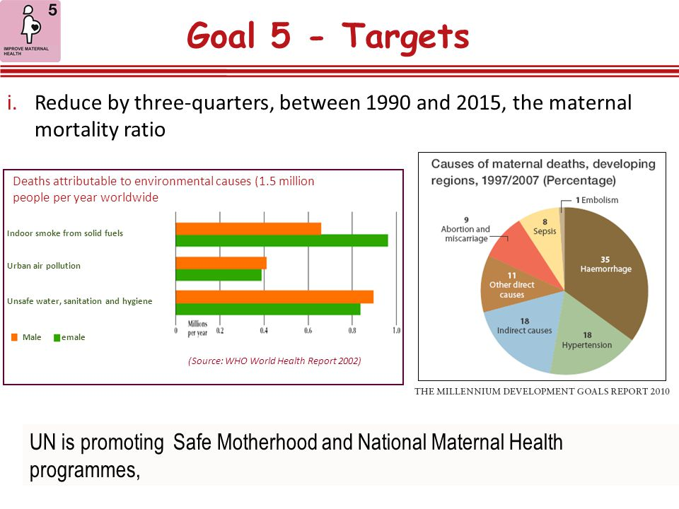 Goal 5 - Targets Reduce by three-quarters, between 1990 and 2015, the maternal mortality ratio.