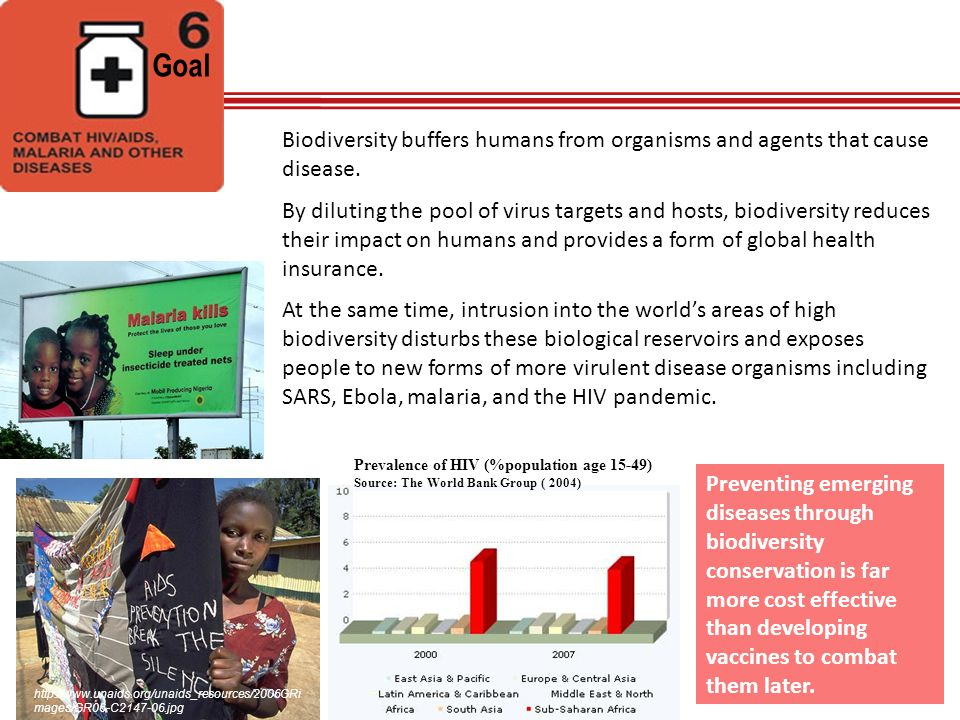 Goal Biodiversity buffers humans from organisms and agents that cause disease.