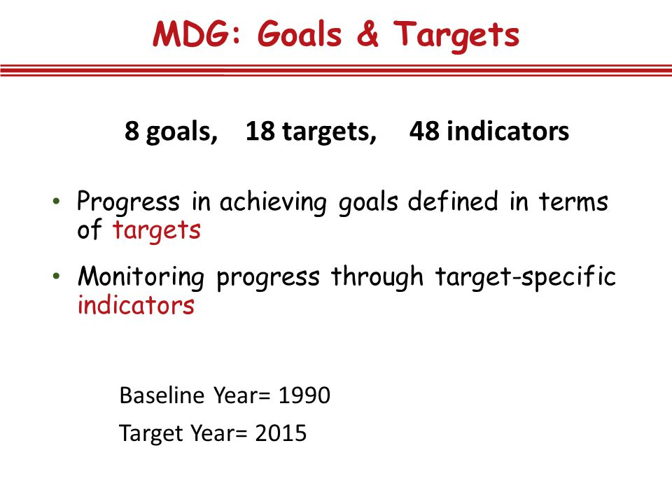 8 goals, 18 targets, 48 indicators