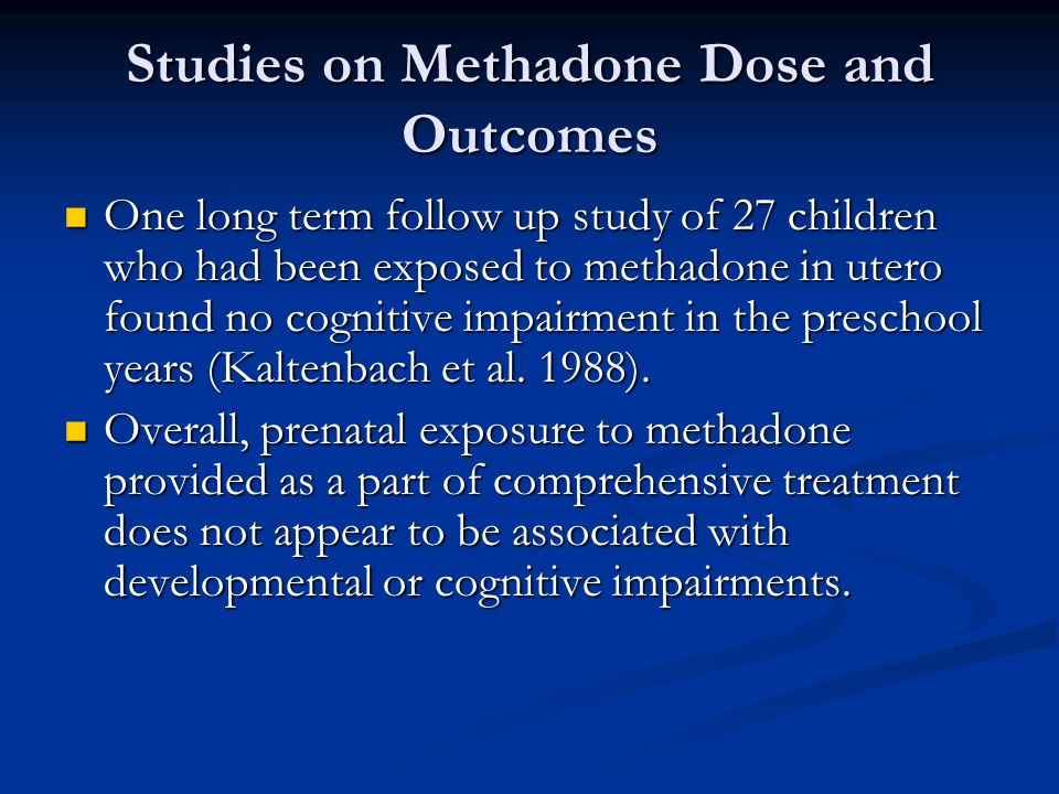 Studies on Methadone Dose and Outcomes
