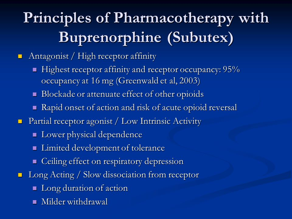 Principles of Pharmacotherapy with Buprenorphine (Subutex)