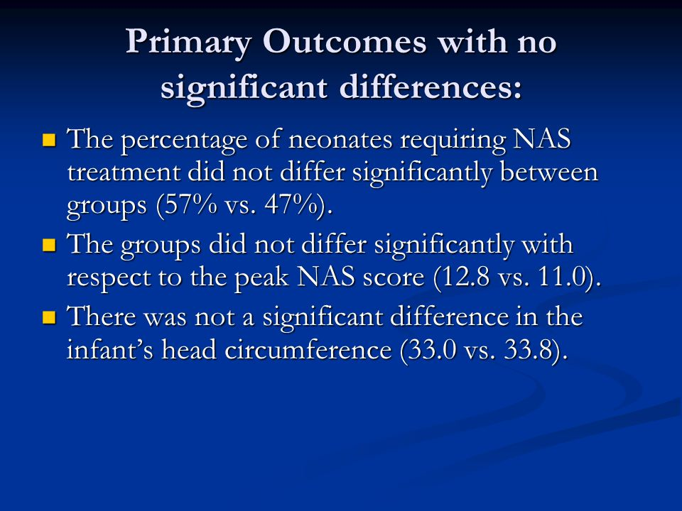 Primary Outcomes with no significant differences: