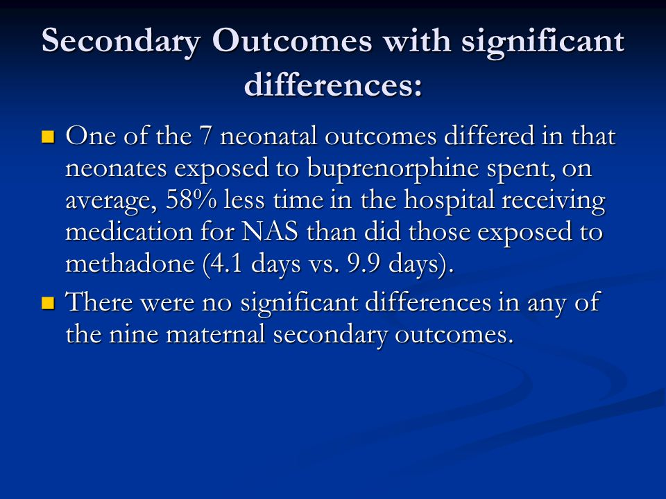 Secondary Outcomes with significant differences:
