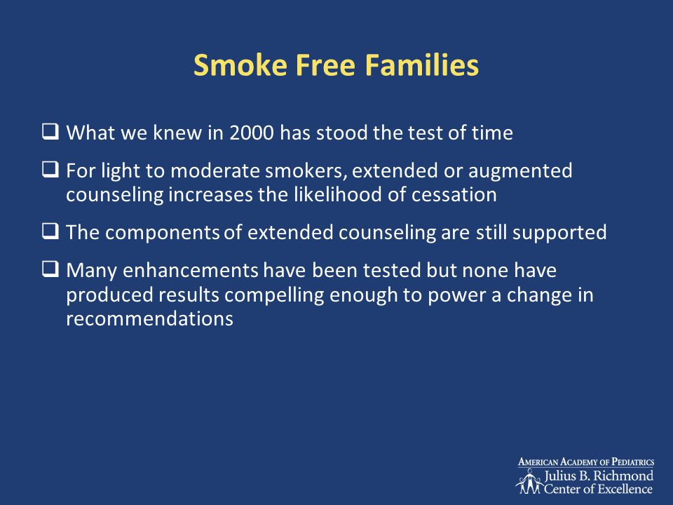 Smoke Free Families What we knew in 2000 has stood the test of time