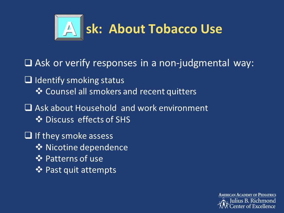 sk: About Tobacco Use A. Ask or verify responses in a non-judgmental way: Identify smoking status.