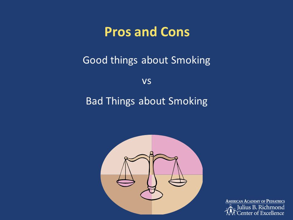 Pros and Cons Good things about Smoking vs Bad Things about Smoking