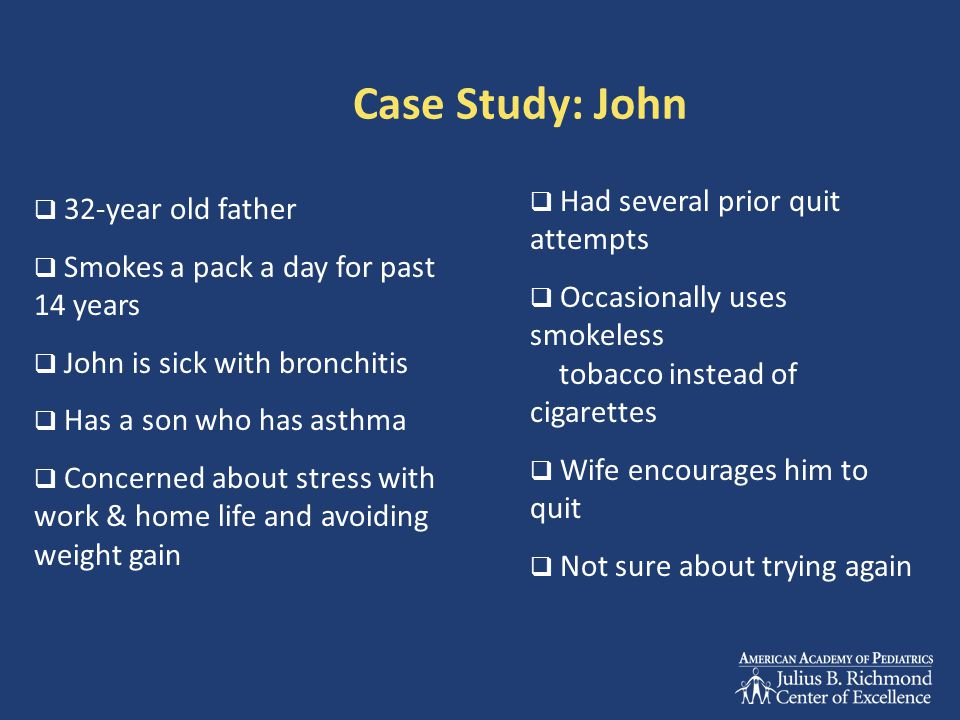 Case Study: John Had several prior quit attempts 32-year old father