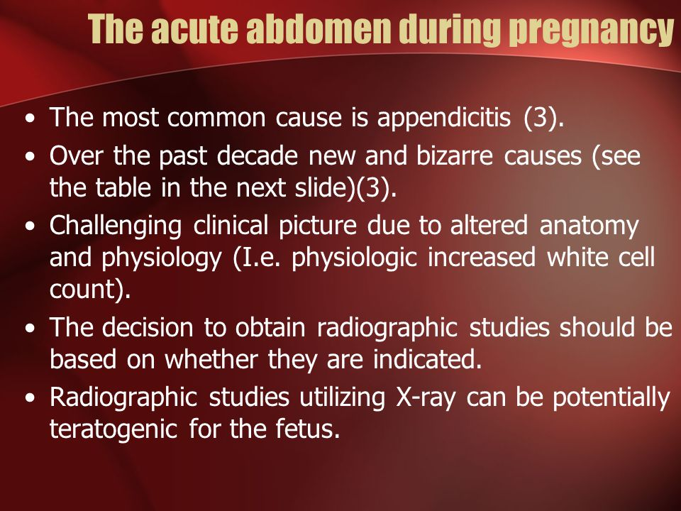 The acute abdomen during pregnancy