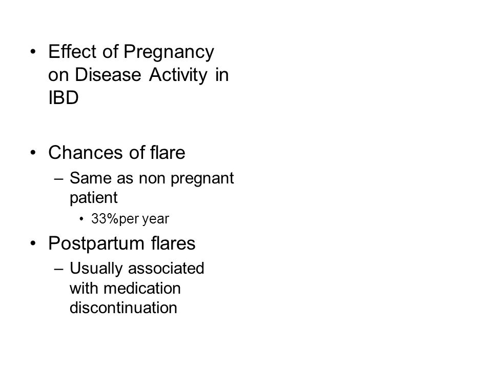 Effect of Pregnancy on Disease Activity in IBD
