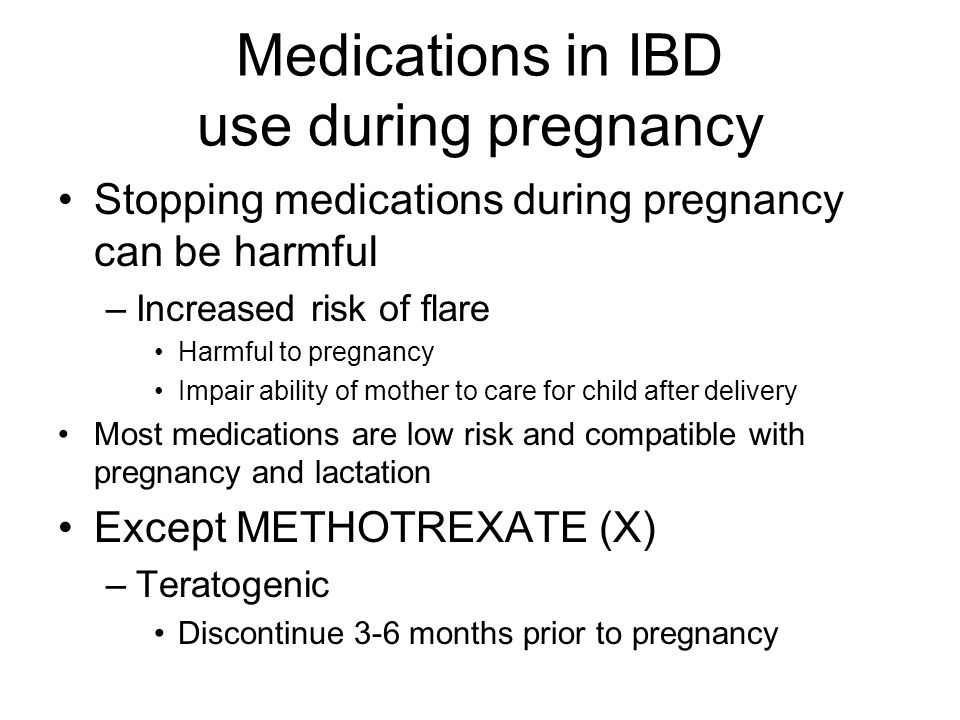 Medications in IBD use during pregnancy