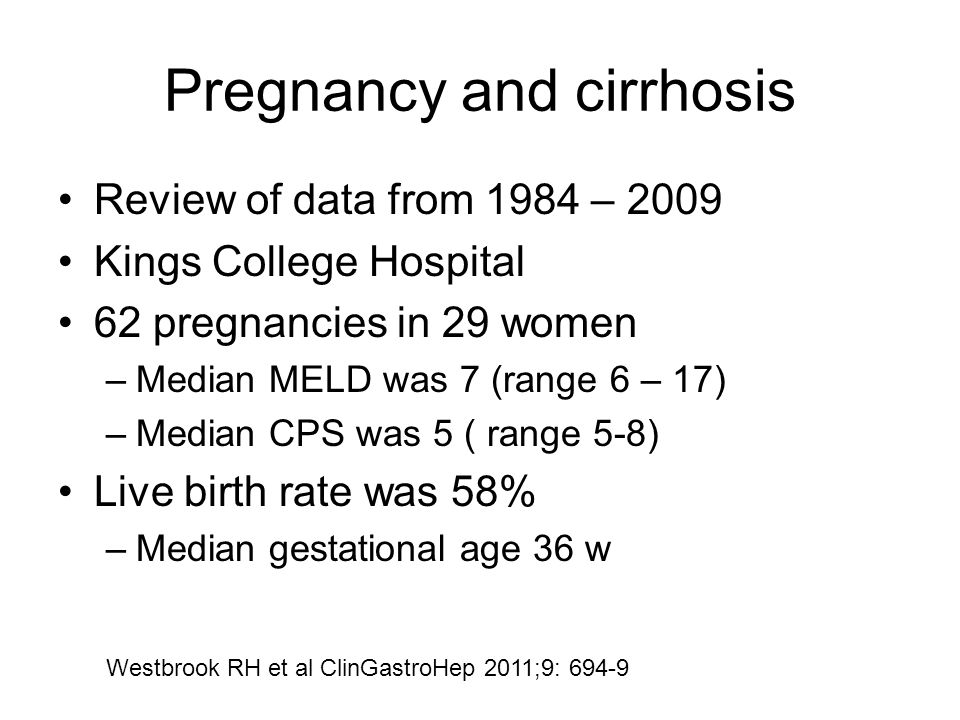 Pregnancy and cirrhosis