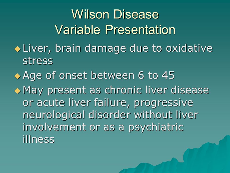 Wilson Disease Variable Presentation