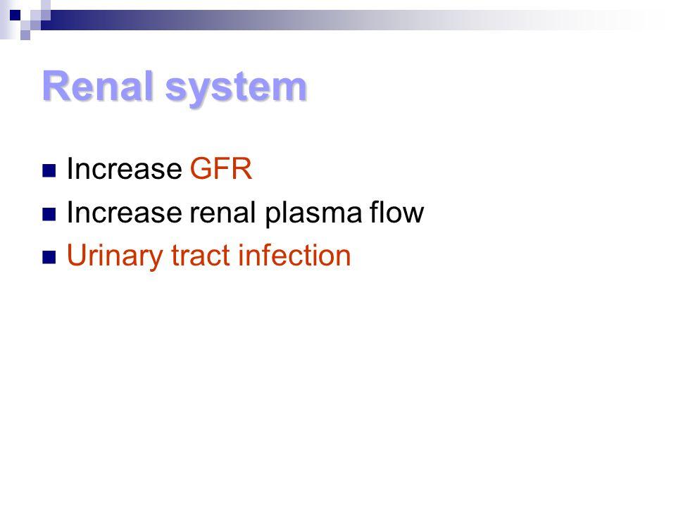 Renal system Increase GFR Increase renal plasma flow