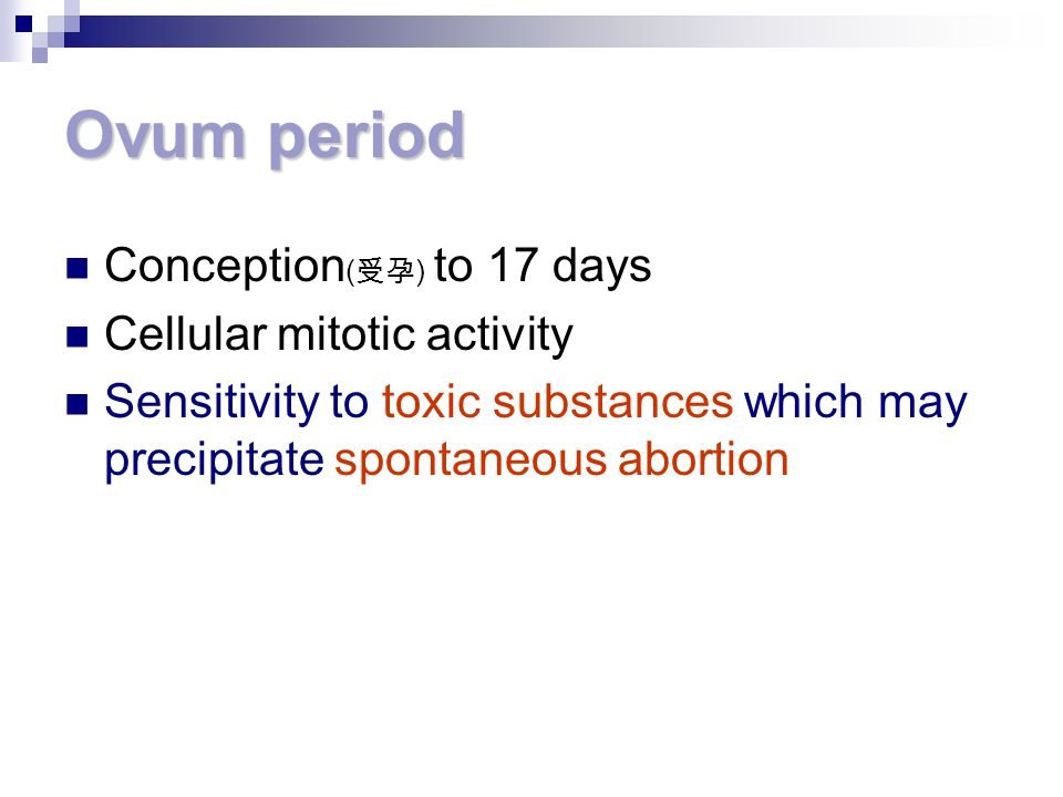 Ovum period Conception(受孕) to 17 days Cellular mitotic activity