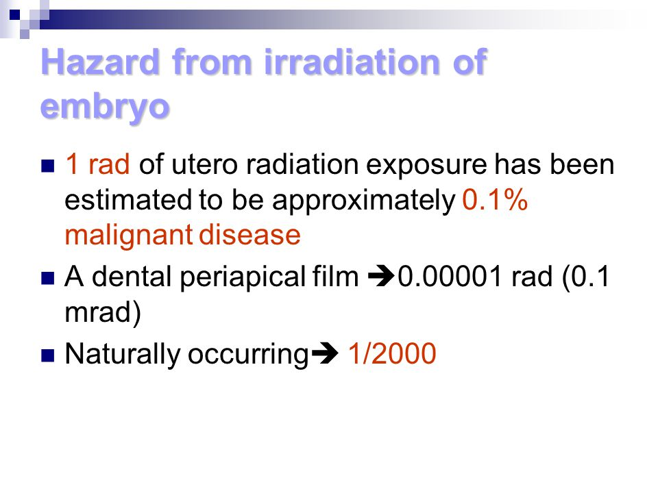 Hazard from irradiation of embryo
