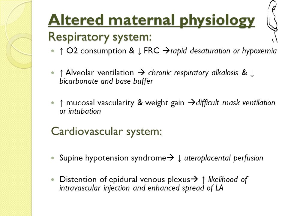 Altered maternal physiology Respiratory system: